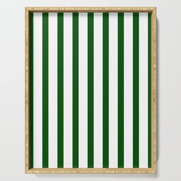 Dark Green Vertical Stripes Design Serving Tray