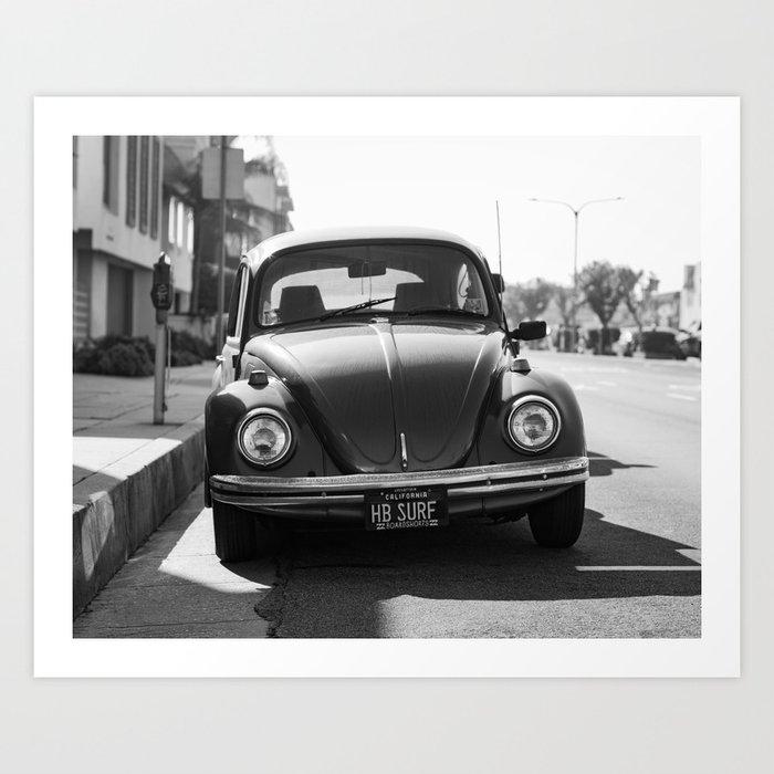 Hermosa Beach Surf Bug, Black and White Photography Print, Beach Art, South Bay Los Angeles Art Art Print