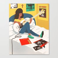 ramones Canvas Prints featuring Practice Time 3 by mattchinworth