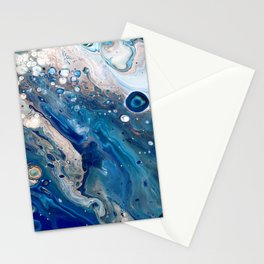Blue Marbled Fluid Painting Unique Swirls Water Stationery Cards
