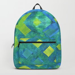 Green and blue geometric abstract motif, hand painted elements Backpack