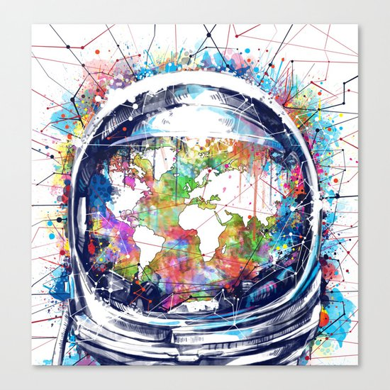 astronaut world map colorful Canvas Print