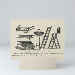 The fruit grower's guide  Vintage illustration of barrows, basket, ladder, scraper, steps Mini Art Print