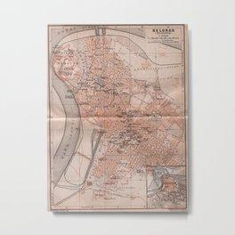 Vintage Map of Belgrade Serbia (1905) Metal Print
