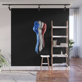 France strength and unity / 3D render of raised fist covered with French tricolour flag Wall Mural