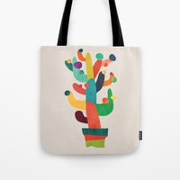 cactus Tote Bags featuring Whimsical Cactus by Picomodi