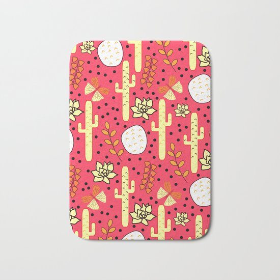 Cacti and butterflies in pink Bath Mat