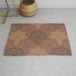 Copper Boho Mandela Pattern Rug