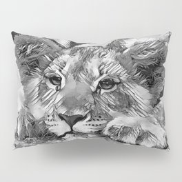 AnimalArtBW_Lion_20171205_by_JAMColors Pillow Sham