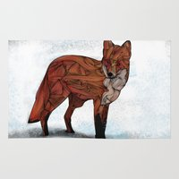 micklyn Area & Throw Rugs featuring Red Fox by Ben Geiger