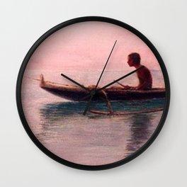 Man in his outrigger wa'a, Pink Sunset Hanauma Hawaiian landscape painting by D. Howard Hitchcock Wall Clock