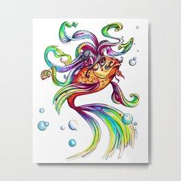 Rainbow Koi Metal Print