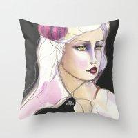 jane davenport Throw Pillows featuring Green Eyed by Jane Davenport by Jane Davenport
