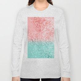 Summer Vibes Glitter #3 #coral #mint #shiny #decor #art #society6 Long Sleeve T-shirt