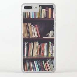 The Bookshelf in the Library, portrait, filtered Clear iPhone Case