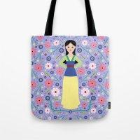 mulan Tote Bags featuring Mulan by Carly Watts