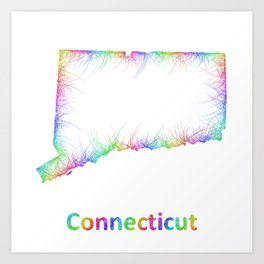 Rainbow Connecticut map Art Print