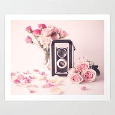 Peonies and vintage camera Art Print
