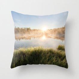 Summer dawn sunrise at foggy forest lake Throw Pillow