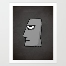 Stone bad face Art Print