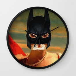 The Queen Cat - Bat Cat - Old Painting Style Cat Woman - Digital Collage Artwork Wall Clock