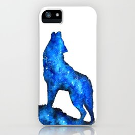 Howling Wolf | Space Wolf | Double Exposure Wolf | Wolf Painting | Blue Wolf iPhone Case