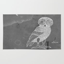 ATHENA'S OWL IN GREY BACKGROUND  Rug