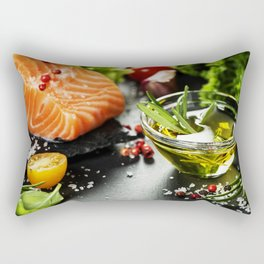 Delicious  portion of fresh salmon fillet Rectangular Pillow