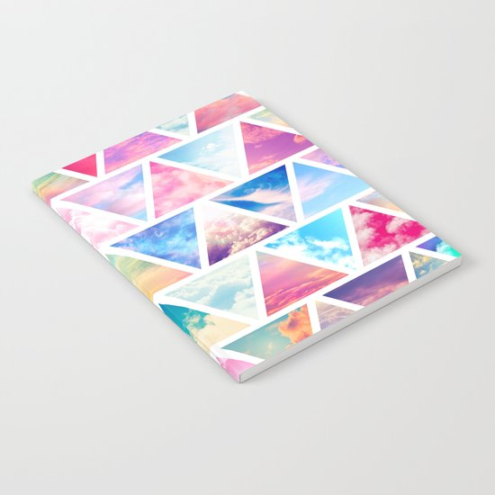 Pink Clouds Teal Sky Abstract Triangles Pattern Notebook
