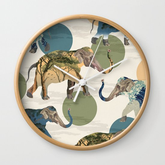 Elephant Polka Wall Clock