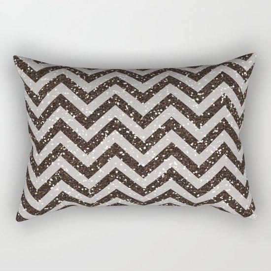 Sparkling glitter chevron pattern - Brown coffee Rectangular Pillow