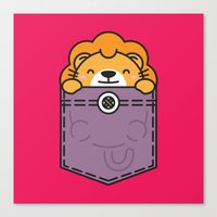 pocket Canvas Prints featuring Pocket Lion by Steven Toang