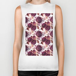 Burgundy pink white watercolor hand painted floral Biker Tank