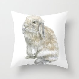 Lop Rabbit Watercolor Painting Bunny Throw Pillow