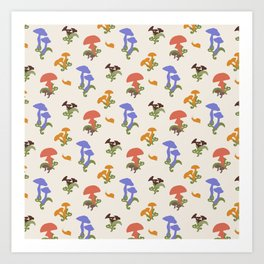 Playful Pattern with Mushrooms and Snails Art Print