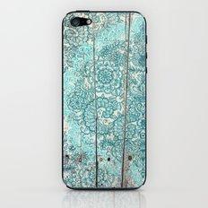 Teal & Aqua Botanical Doodle on Weathered Wood iPhone & iPod Skin