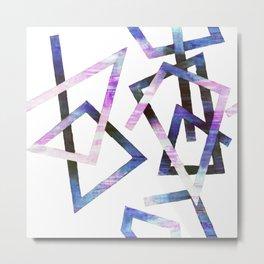 Modern Geometric Lines Shape Corners Metal Print