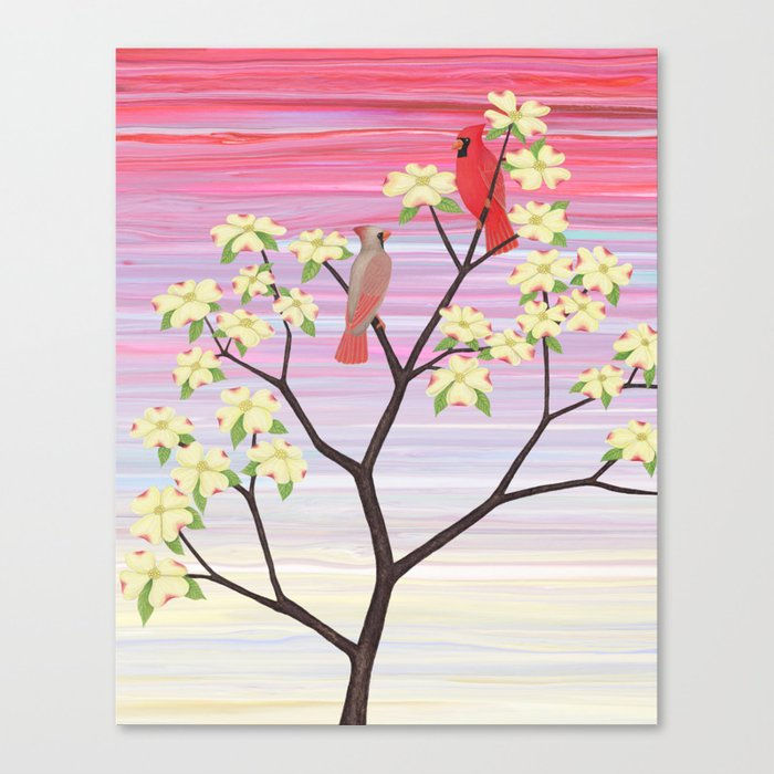 cardinals and dogwood blossoms Canvas Print