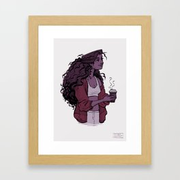 Coffee and Curls Framed Art Print