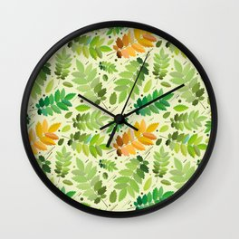 abstract, acorn, background, branch, color, cover, crocket, foiling, foliage, green, greens, impress Wall Clock