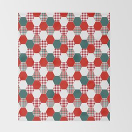 Christmas quilt red and green cute gifts home decor for the holidays Throw Blanket
