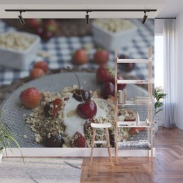 Granola with cherries Wall Mural