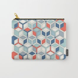 Soft Red, White & Blue Hexagon Pattern Play Carry-All Pouch