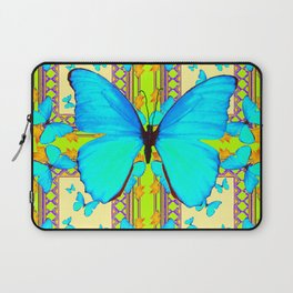 Turquoise Satin Butterflies On Lime & Cream Colors Laptop Sleeve