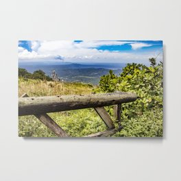 Wooden Guard Rail Fence at a Lookout Point on Mombacho Volcano, Nicaragua Metal Print