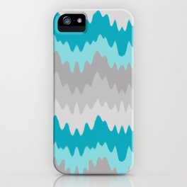 Teal Turquoise Blue Grey Gray Chevron Ombre Fade Zigzag iPhone Case