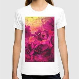 floral in deep pink and yellow T-shirt