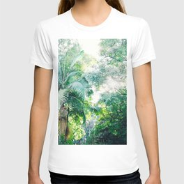 Lost in the jungle bright green tropical palm tree forest photography T-shirt