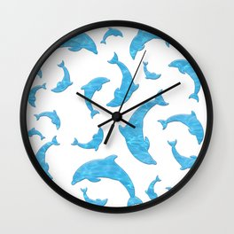 Blue dolphin shapes on white background Wall Clock