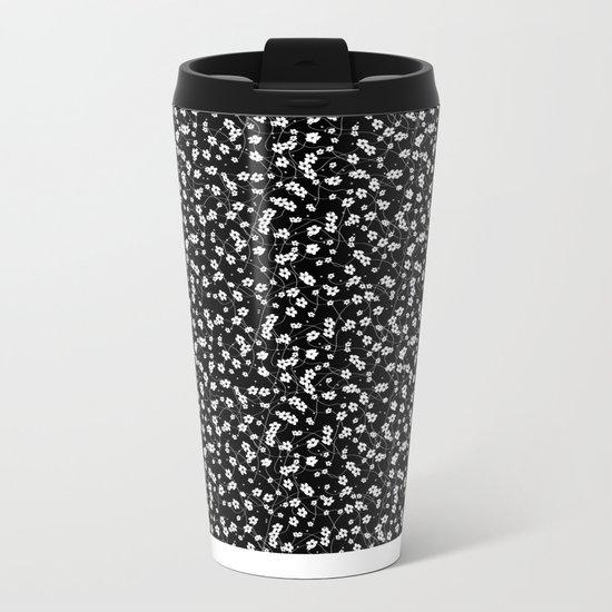White flowers Metal Travel Mug